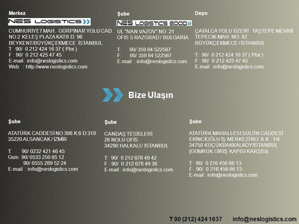 info@neslogistics.comT 90 (212) 424 1637 Polonya ; 3 - 4 gün Çek Cum; 3 - 4 gün İtalya ; 3 - 4 gün Hollanda ; 4 - 5 gün Belçika ; 4 - 5 gün Almanya ; 4 - 6 gün Fransa ; 6 - 7 gün Sırbistan; 3 gün Slovakya; 3 - 4 gün Bulgaristan; 1 - 2 gün İspanya ; 7 - 9 gün Yunanistan; 1 - 2 gün Transit Süre