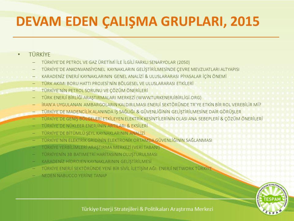 Türkiye Enerji Stratejileri & Politikaları Araştırma Merkezi DEVAM EDEN ÇALIŞMA GRUPLARI, 2015 TÜRKİYE – TÜRKİYE DE PETROL VE GAZ ÜRETİMİ İLE İLGİLİ FARKLI SENARYOLAR (2050) – TÜRKİYE DE ANKONVANSİYONEL KAYNAKLARIN GELİŞTİRİLMESİNDE ÇEVRE MEVZUATLARI ALTYAPISI – KARADENİZ ENERJİ KAYNAKLARININ GENEL ANALİZİ & ULUSLARARASI PİYASALAR İÇİN ÖNEMİ – TÜRK AKIMI BORU HATTI PROJESİ NİN BÖLGESEL VE ULUSLARARASI ETKİLERİ – TÜRKİYE NİN PETROL SORUNU VE ÇÖZÜM ÖNERİLERİ – TÜRK ENERJİ BİRLİĞİ ARAŞTIRMALARI MERKEZİ (WWW.TURKENERJİBİRLİGİ.ORG) – İRAN A UYGULANAN AMBARGOLARIN KALDIRILMASI ENERJİ SEKTÖRÜNDE TR YE ETKİN BİR ROL VEREBİLİR Mİ.