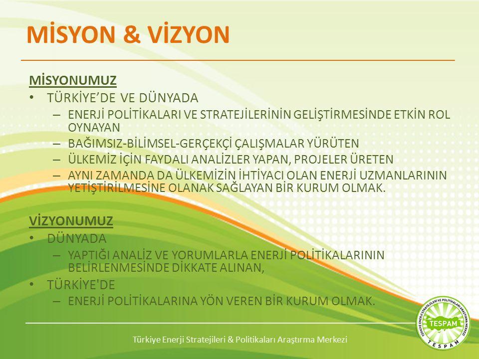 Türkiye Enerji Stratejileri & Politikaları Araştırma Merkezi MİSYON & VİZYON MİSYONUMUZ TÜRKİYE'DE VE DÜNYADA – ENERJİ POLİTİKALARI VE STRATEJİLERİNİN GELİŞTİRMESİNDE ETKİN ROL OYNAYAN – BAĞIMSIZ-BİLİMSEL-GERÇEKÇİ ÇALIŞMALAR YÜRÜTEN – ÜLKEMİZ İÇİN FAYDALI ANALİZLER YAPAN, PROJELER ÜRETEN – AYNI ZAMANDA DA ÜLKEMİZİN İHTİYACI OLAN ENERJİ UZMANLARININ YETİŞTİRİLMESİNE OLANAK SAĞLAYAN BİR KURUM OLMAK.