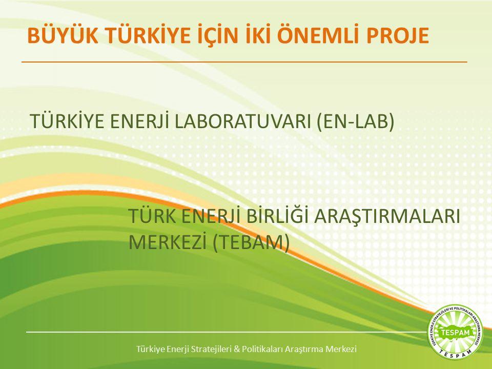 Türkiye Enerji Stratejileri & Politikaları Araştırma Merkezi BÜYÜK TÜRKİYE İÇİN İKİ ÖNEMLİ PROJE TÜRKİYE ENERJİ LABORATUVARI (EN-LAB) TÜRK ENERJİ BİRLİĞİ ARAŞTIRMALARI MERKEZİ (TEBAM)
