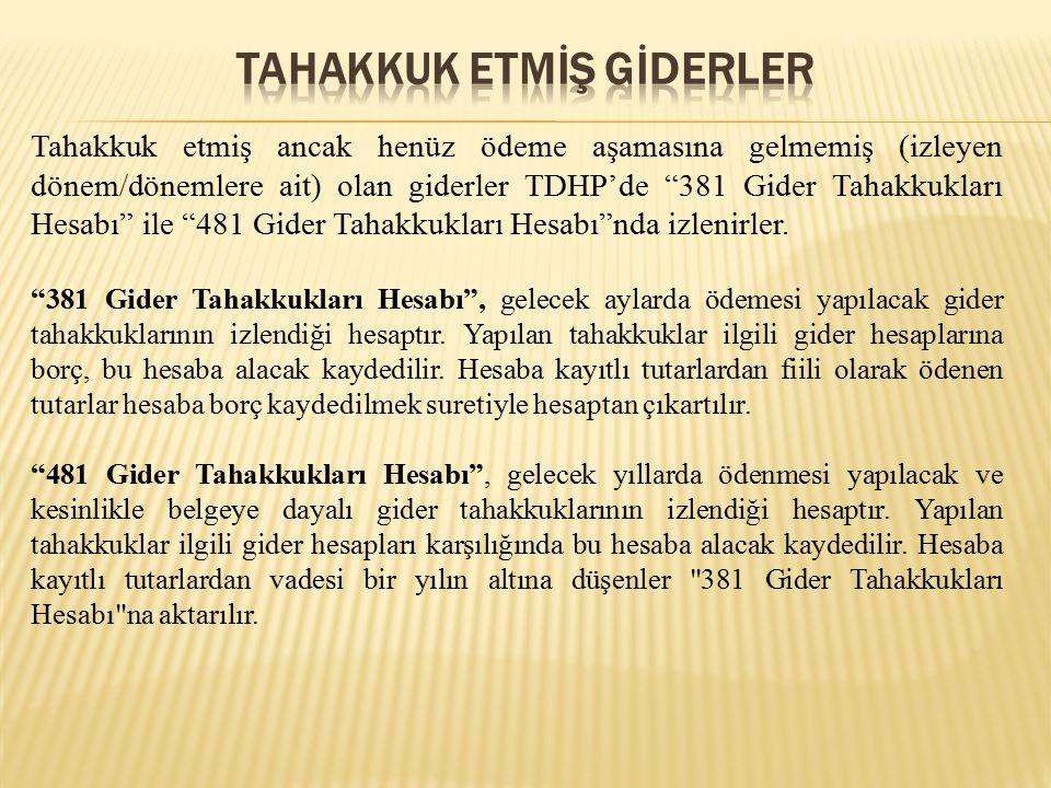 Tahakkuk etmiş ancak henüz ödeme aşamasına gelmemiş (izleyen dönem/dönemlere ait) olan giderler TDHP'de 381 Gider Tahakkukları Hesabı ile 481 Gider Tahakkukları Hesabı nda izlenirler.