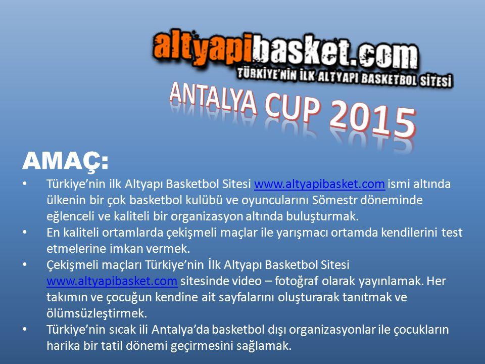 AMAÇ: Türkiye'nin ilk Altyapı Basketbol Sitesi www.altyapibasket.com ismi altında ülkenin bir çok basketbol kulübü ve oyuncularını Sömestr döneminde eğlenceli ve kaliteli bir organizasyon altında buluşturmak.www.altyapibasket.com En kaliteli ortamlarda çekişmeli maçlar ile yarışmacı ortamda kendilerini test etmelerine imkan vermek.
