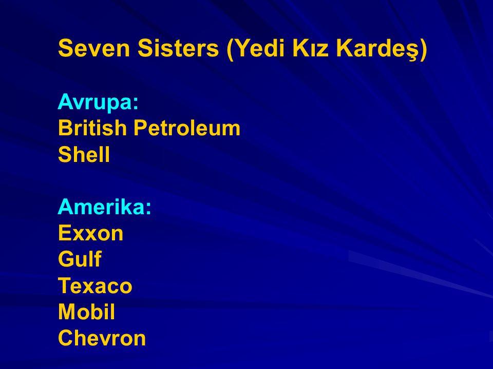 Seven Sisters (Yedi Kız Kardeş) Avrupa: British Petroleum Shell Amerika: Exxon Gulf Texaco Mobil Chevron