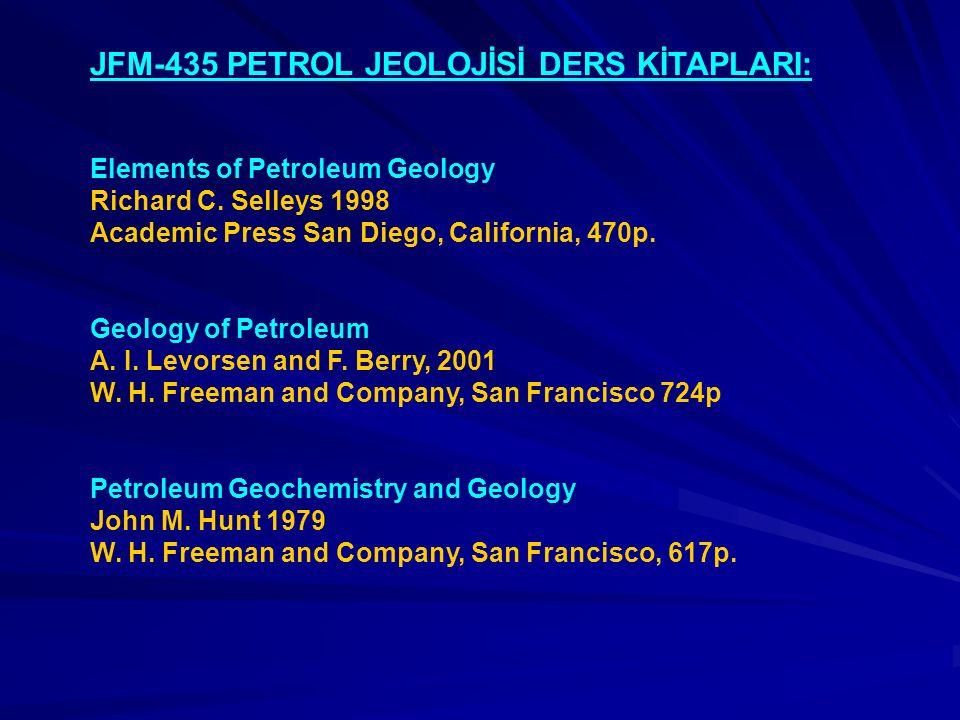 JFM-435 PETROL JEOLOJİSİ DERS KİTAPLARI: Elements of Petroleum Geology Richard C. Selleys 1998 Academic Press San Diego, California, 470p. Geology of