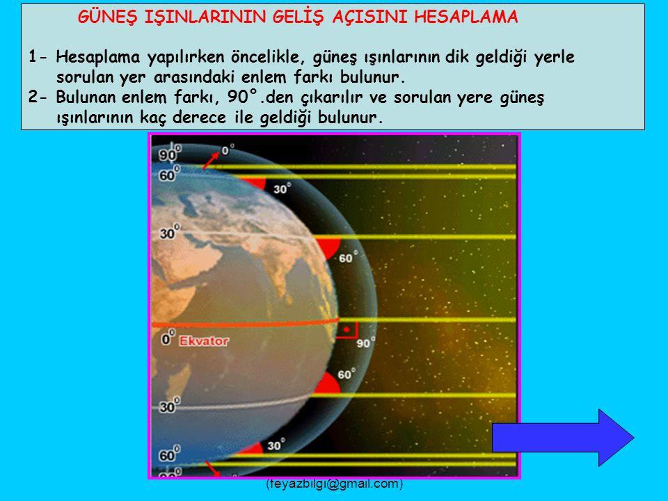 FEYAZ BİLGİ (feyazbilgi@gmail.com) 10- Bu tarihten sonra, güneş ışınları Oğlak Dönencesinin daha kuzeyine dik gelmeye başlar.