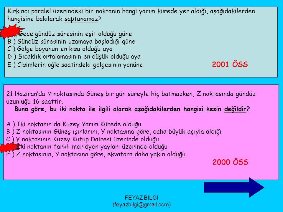 FEYAZ BİLGİ (feyazbilgi@gmail.com) Aşağıdaki tabloda K, L ve M kentlerinin 21 Haziran ve 21 Aralık'taki gündüz uzunlukları ( saat ) gösterilmiştir.