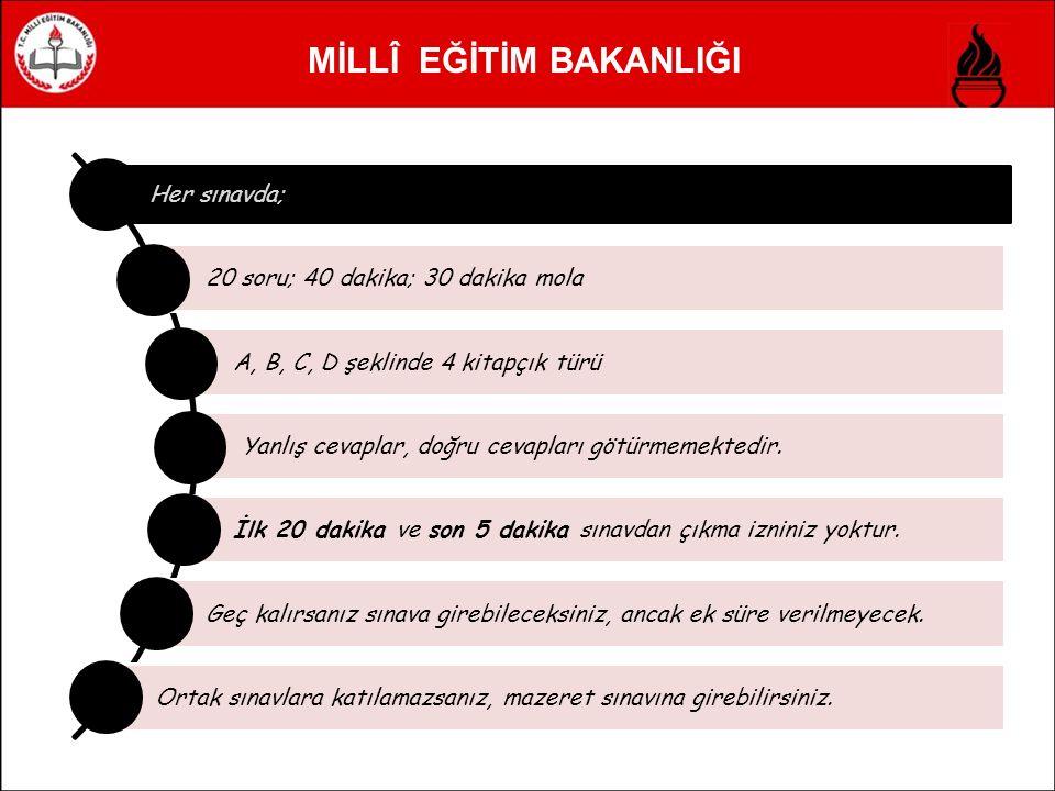 MİLLÎ EĞİTİM BAKANLIĞI Her sınavda; 20 soru; 40 dakika; 30 dakika mola A, B, C, D şeklinde 4 kitapçık türü Yanlış cevaplar, doğru cevapları götürmemektedir.