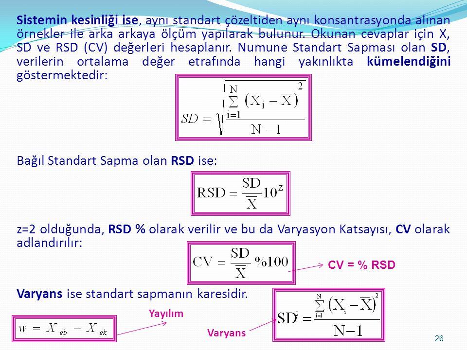Sistemin kesinliği ise, aynı standart çözeltiden aynı konsantrasyonda alınan örnekler ile arka arkaya ölçüm yapılarak bulunur.