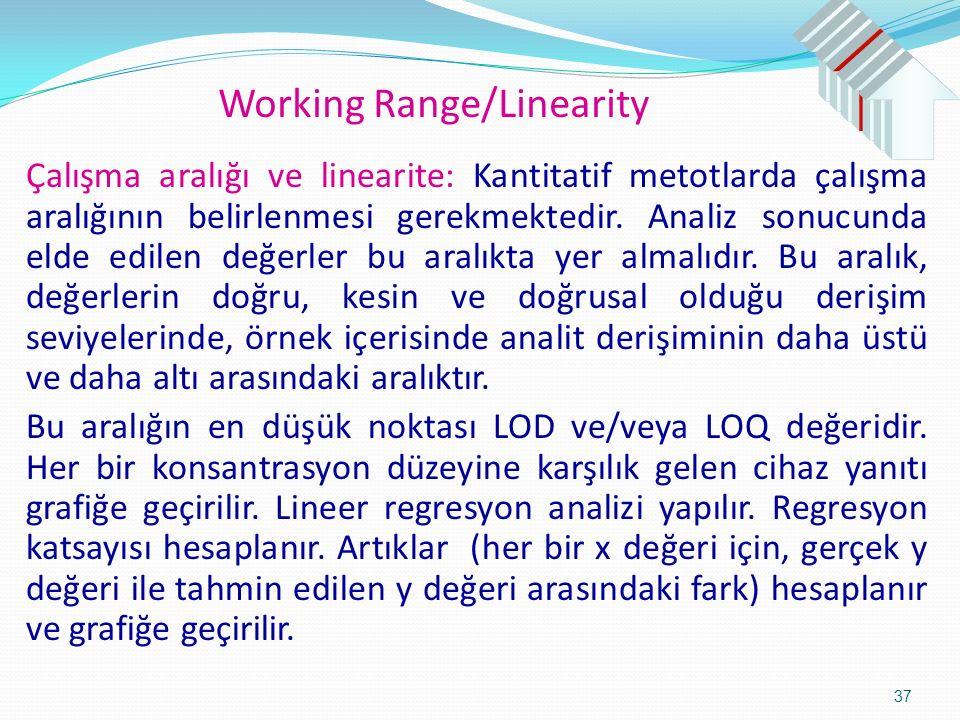 Working Range/Linearity Çalışma aralığı ve linearite: Kantitatif metotlarda çalışma aralığının belirlenmesi gerekmektedir.