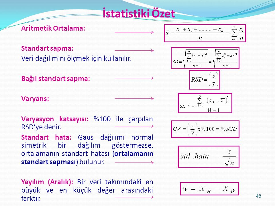 İstatistiki Özet Aritmetik Ortalama: Standart sapma: Veri dağılımını ölçmek için kullanılır.