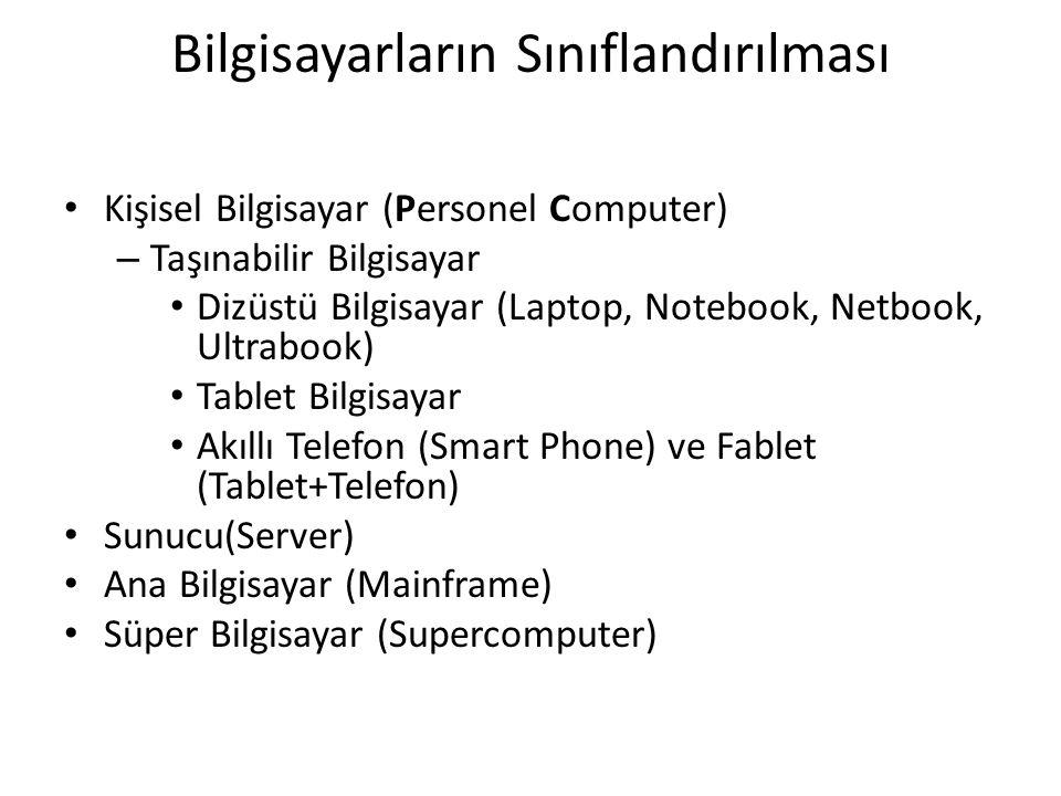 Bilgisayarların Sınıflandırılması Kişisel Bilgisayar (Personel Computer) – Taşınabilir Bilgisayar Dizüstü Bilgisayar (Laptop, Notebook, Netbook, Ultrabook) Tablet Bilgisayar Akıllı Telefon (Smart Phone) ve Fablet (Tablet+Telefon) Sunucu(Server) Ana Bilgisayar (Mainframe) Süper Bilgisayar (Supercomputer)