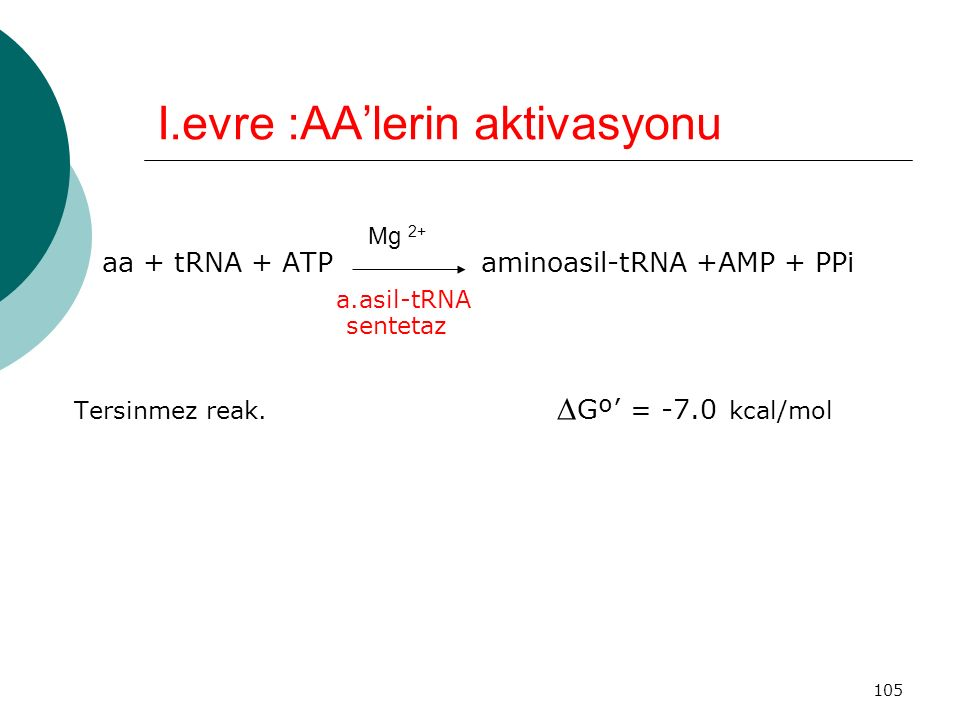 105 I.evre :AA'lerin aktivasyonu aa + tRNA + ATP aminoasil-tRNA +AMP + PPi a.asil-tRNA sentetaz Tersinmez reak.  Gº' = -7.0 kcal/mol Mg 2+