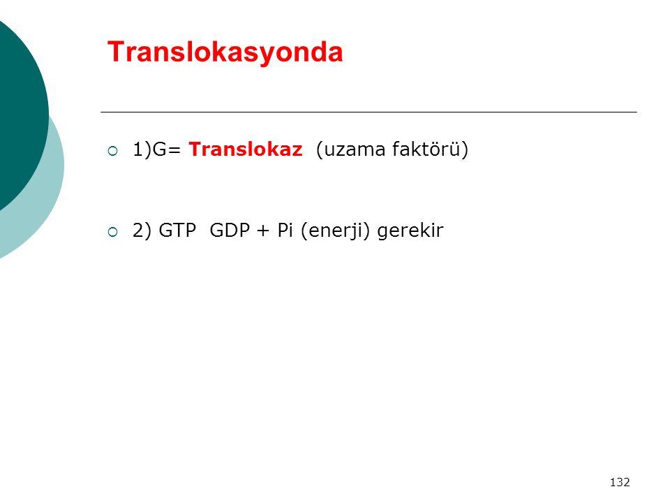 132 Translokasyonda  1)G= Translokaz (uzama faktörü)  2) GTP GDP + Pi (enerji) gerekir