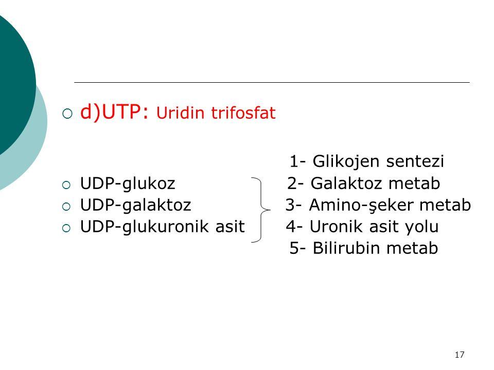 17  d)UTP: Uridin trifosfat 1- Glikojen sentezi  UDP-glukoz 2- Galaktoz metab  UDP-galaktoz 3- Amino-şeker metab  UDP-glukuronik asit 4- Uronik as