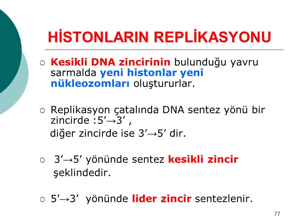 77 HİSTONLARIN REPLİKASYONU  Kesikli DNA zincirinin bulunduğu yavru sarmalda yeni histonlar yeni nükleozomları oluştururlar.  Replikasyon çatalında