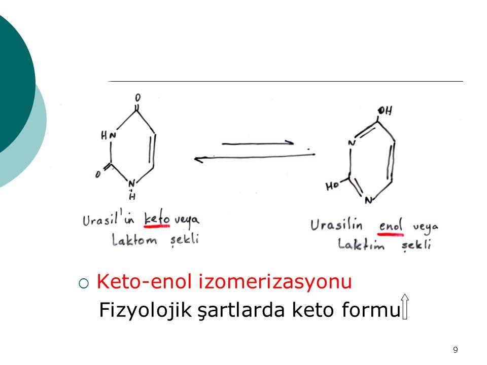 9  Keto-enol izomerizasyonu Fizyolojik şartlarda keto formu
