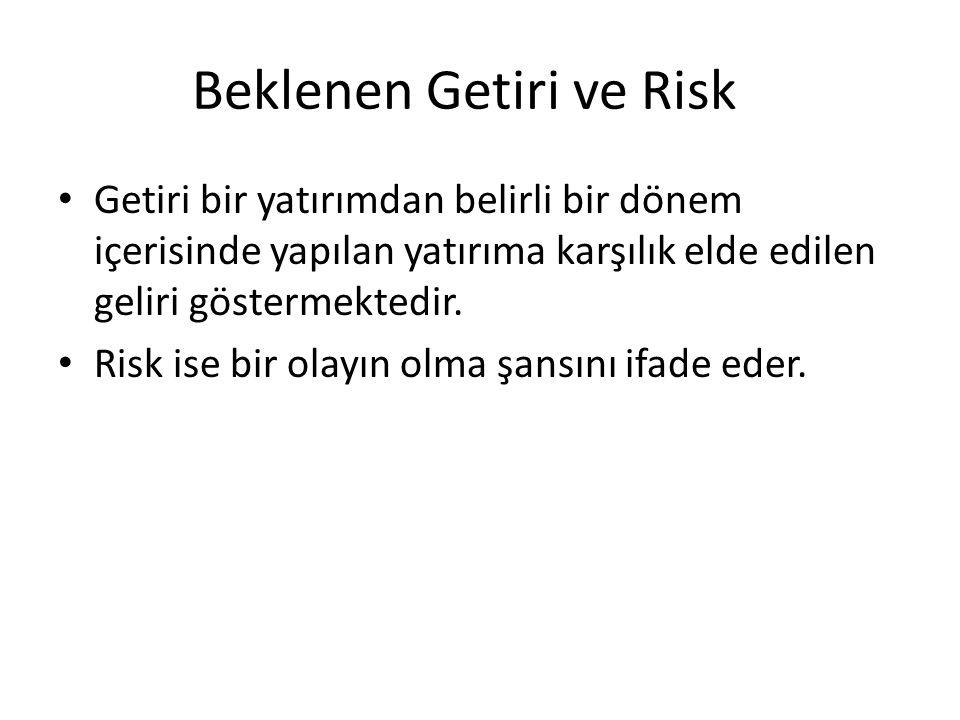 Beklenen Getiri ve Risk Getiri bir yatırımdan belirli bir dönem içerisinde yapılan yatırıma karşılık elde edilen geliri göstermektedir. Risk ise bir o
