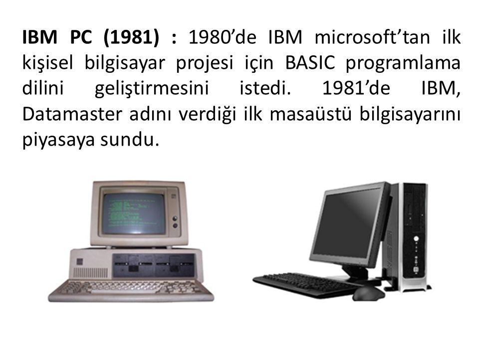 IBM PC (1981) : 1980'de IBM microsoft'tan ilk kişisel bilgisayar projesi için BASIC programlama dilini geliştirmesini istedi. 1981'de IBM, Datamaster