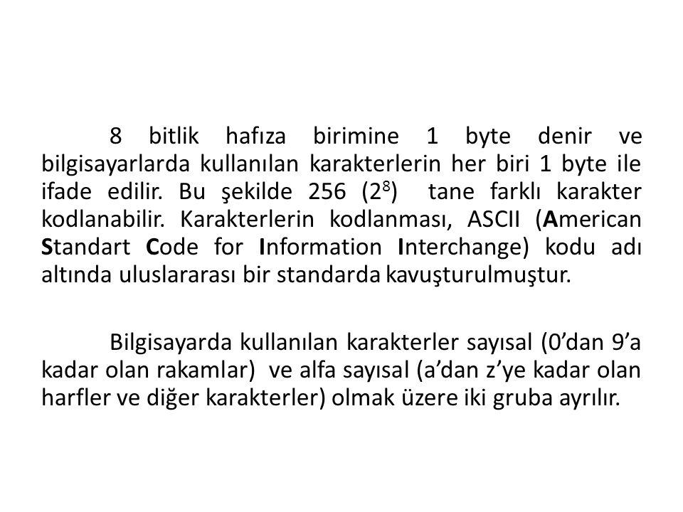 8 bitlik hafıza birimine 1 byte denir ve bilgisayarlarda kullanılan karakterlerin her biri 1 byte ile ifade edilir. Bu şekilde 256 (2 8 ) tane farklı