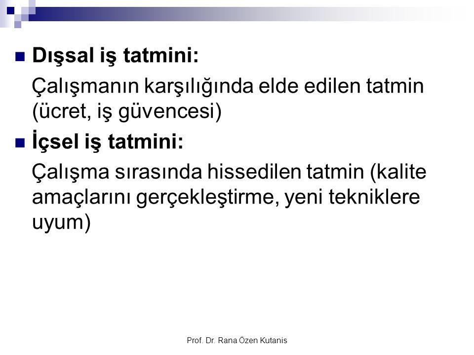 Prof. Dr. Rana Özen Kutanis Dışsal iş tatmini: Çalışmanın karşılığında elde edilen tatmin (ücret, iş güvencesi) İçsel iş tatmini: Çalışma sırasında hi