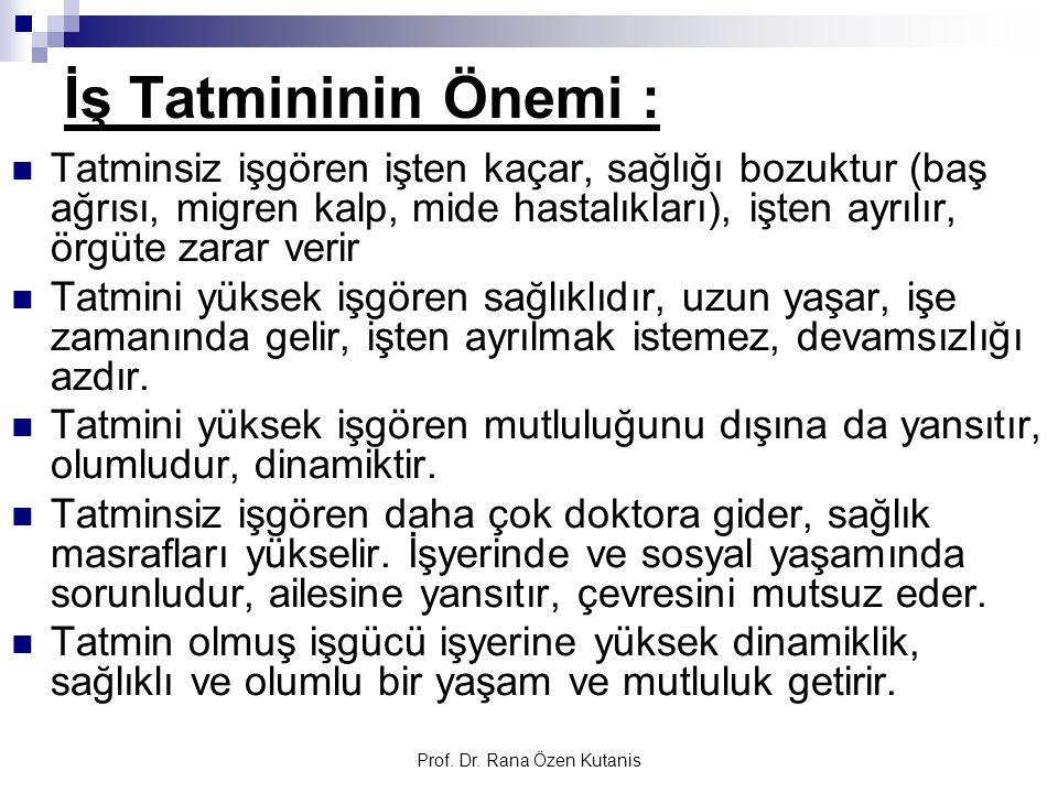 Prof. Dr. Rana Özen Kutanis İş Tatmininin Önemi : Tatminsiz işgören işten kaçar, sağlığı bozuktur (baş ağrısı, migren kalp, mide hastalıkları), işten