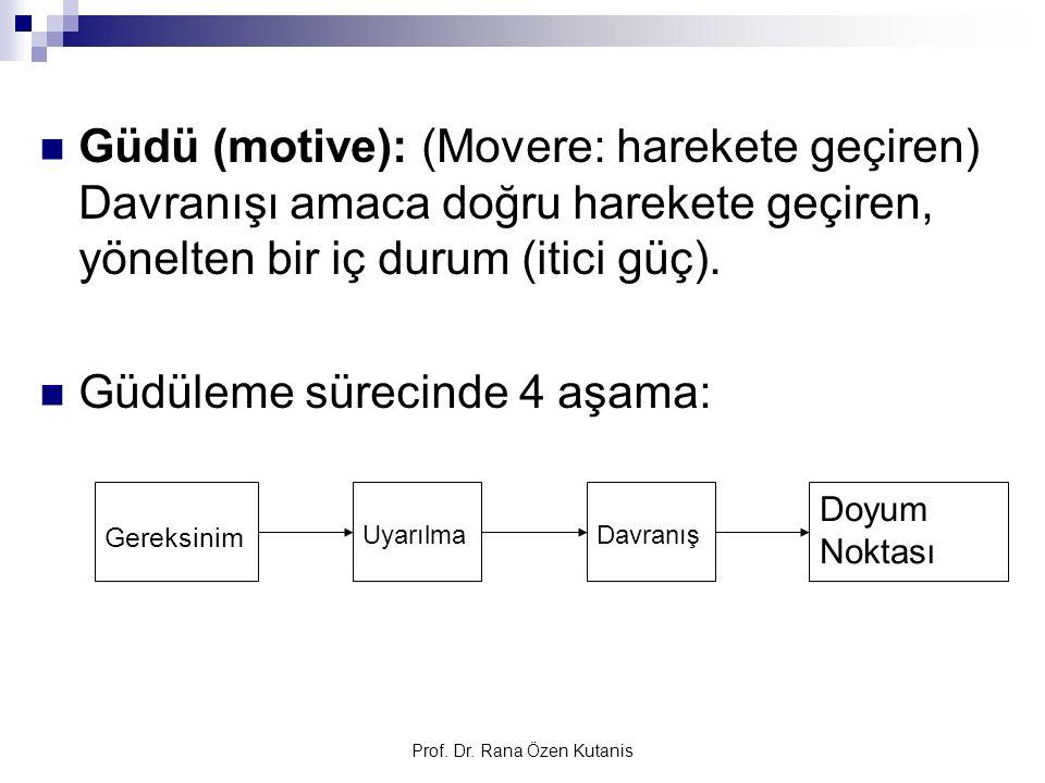 Prof. Dr. Rana Özen Kutanis Güdü (motive): (Movere: harekete geçiren) Davranışı amaca doğru harekete geçiren, yönelten bir iç durum (itici güç). Güdül