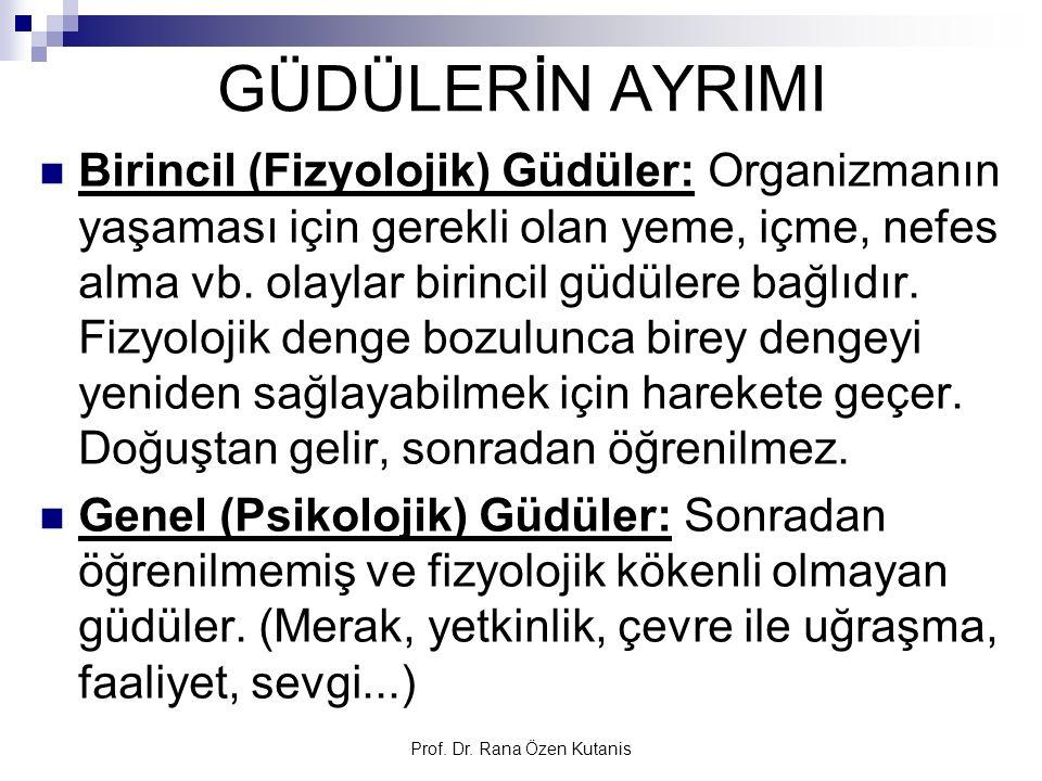 Prof. Dr. Rana Özen Kutanis GÜDÜLERİN AYRIMI Birincil (Fizyolojik) Güdüler: Organizmanın yaşaması için gerekli olan yeme, içme, nefes alma vb. olaylar