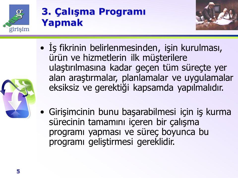 5 3. Çalışma Programı Yapmak İş fikrinin belirlenmesinden, işin kurulması, ürün ve hizmetlerin ilk müşterilere ulaştırılmasına kadar geçen tüm süreçte