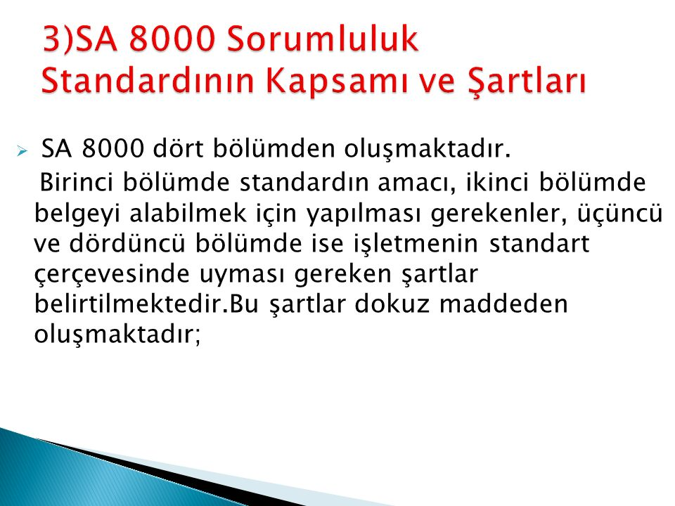  SA 8000 dört bölümden oluşmaktadır. Birinci bölümde standardın amacı, ikinci bölümde belgeyi alabilmek için yapılması gerekenler, üçüncü ve dördüncü