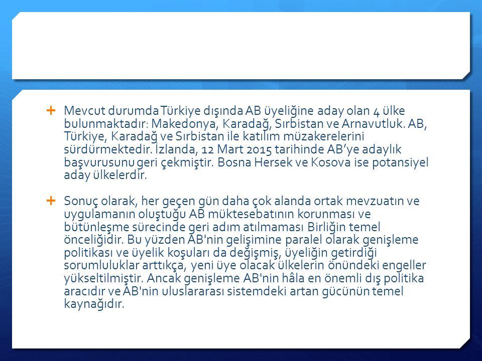  Mevcut durumda Türkiye dışında AB üyeliğine aday olan 4 ülke bulunmaktadır: Makedonya, Karadağ, Sırbistan ve Arnavutluk.