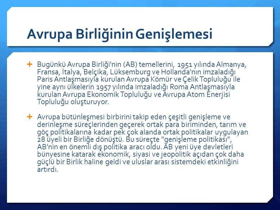 Avrupa Birliğinin Genişlemesi  Bugünkü Avrupa Birliği nin (AB) temellerini, 1951 yılında Almanya, Fransa, İtalya, Belçika, Lüksemburg ve Hollanda nın imzaladığı Paris Antlaşmasıyla kurulan Avrupa Kömür ve Çelik Topluluğu ile yine aynı ülkelerin 1957 yılında imzaladığı Roma Antlaşmasıyla kurulan Avrupa Ekonomik Topluluğu ve Avrupa Atom Enerjisi Topluluğu oluşturuyor.