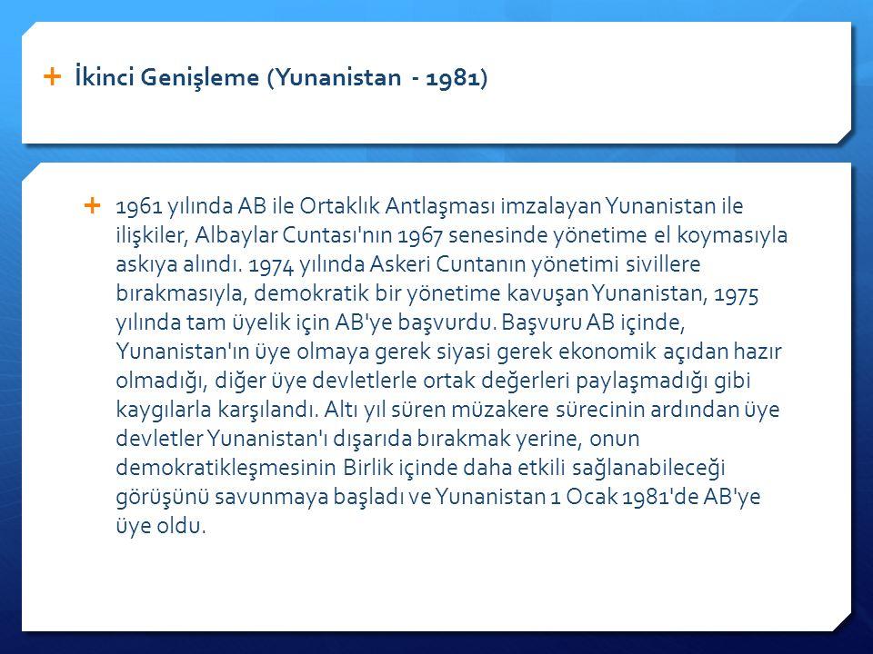 1961 yılında AB ile Ortaklık Antlaşması imzalayan Yunanistan ile ilişkiler, Albaylar Cuntası nın 1967 senesinde yönetime el koymasıyla askıya alındı.