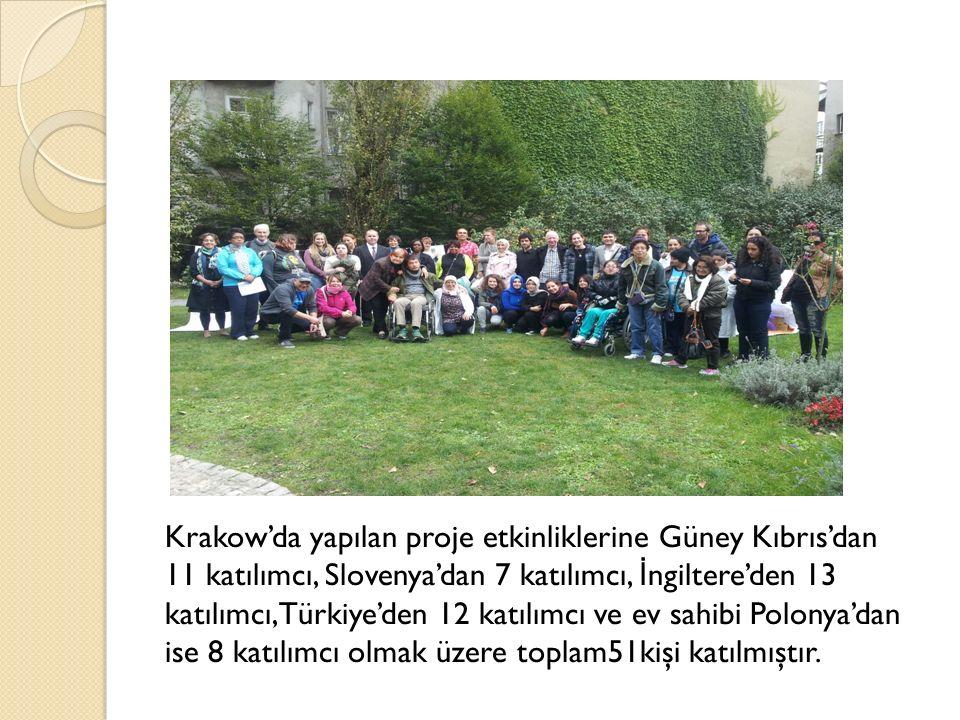 Krakow'da yapılan proje etkinliklerine Güney Kıbrıs'dan 11 katılımcı, Slovenya'dan 7 katılımcı, İ ngiltere'den 13 katılımcı,Türkiye'den 12 katılımcı ve ev sahibi Polonya'dan ise 8 katılımcı olmak üzere toplam51kişi katılmıştır.