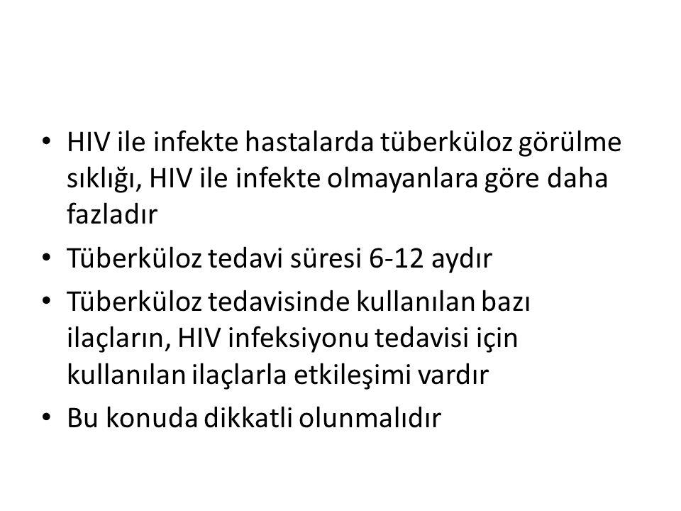 HIV ile infekte hastalarda tüberküloz görülme sıklığı, HIV ile infekte olmayanlara göre daha fazladır Tüberküloz tedavi süresi 6-12 aydır Tüberküloz tedavisinde kullanılan bazı ilaçların, HIV infeksiyonu tedavisi için kullanılan ilaçlarla etkileşimi vardır Bu konuda dikkatli olunmalıdır