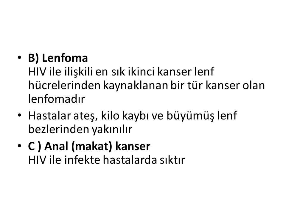 B) Lenfoma HIV ile ilişkili en sık ikinci kanser lenf hücrelerinden kaynaklanan bir tür kanser olan lenfomadır Hastalar ateş, kilo kaybı ve büyümüş lenf bezlerinden yakınılır C ) Anal (makat) kanser HIV ile infekte hastalarda sıktır
