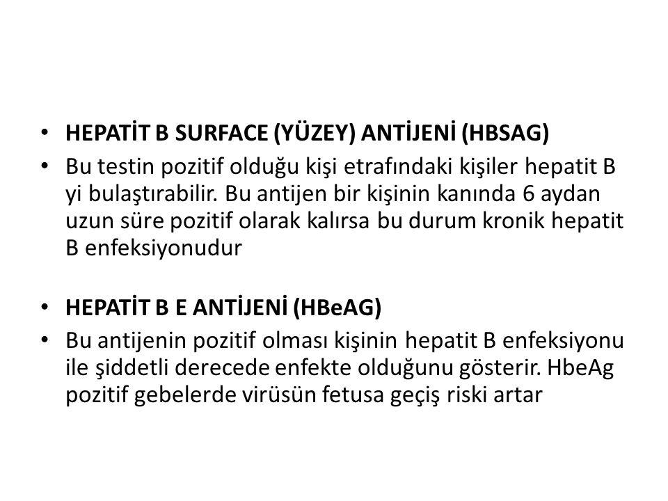 HEPATİT B SURFACE (YÜZEY) ANTİJENİ (HBSAG) Bu testin pozitif olduğu kişi etrafındaki kişiler hepatit B yi bulaştırabilir.
