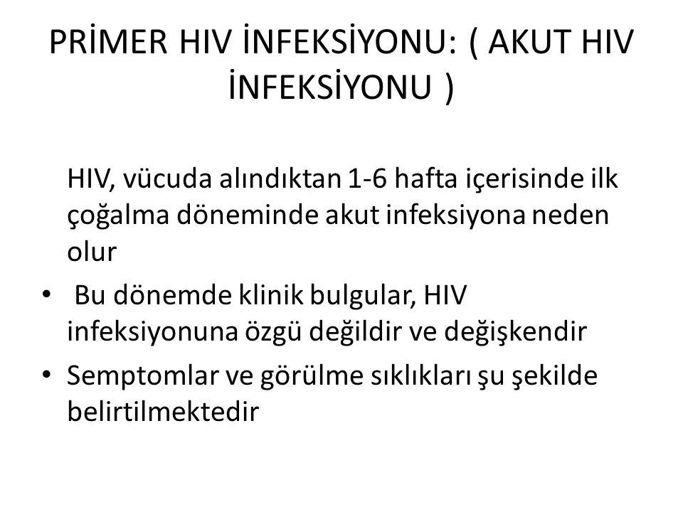 PRİMER HIV İNFEKSİYONU: ( AKUT HIV İNFEKSİYONU ) HIV, vücuda alındıktan 1-6 hafta içerisinde ilk çoğalma döneminde akut infeksiyona neden olur Bu dönemde klinik bulgular, HIV infeksiyonuna özgü değildir ve değişkendir Semptomlar ve görülme sıklıkları şu şekilde belirtilmektedir