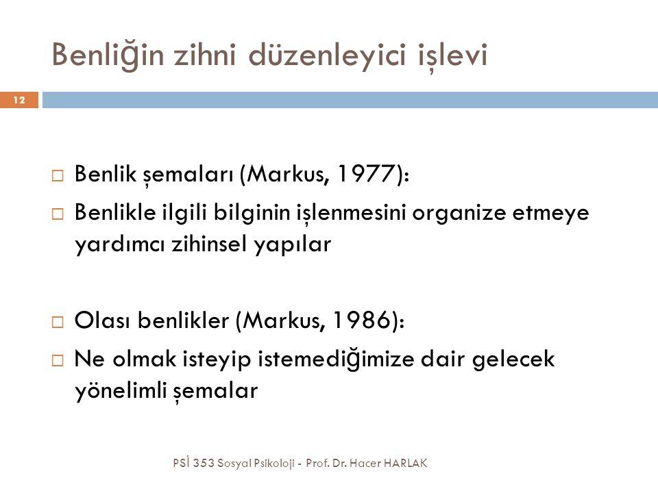 Benli ğ in zihni düzenleyici işlevi  Benlik şemaları (Markus, 1977):  Benlikle ilgili bilginin işlenmesini organize etmeye yardımcı zihinsel yapılar  Olası benlikler (Markus, 1986):  Ne olmak isteyip istemedi ğ imize dair gelecek yönelimli şemalar PS İ 353 Sosyal Psikoloji - Prof.