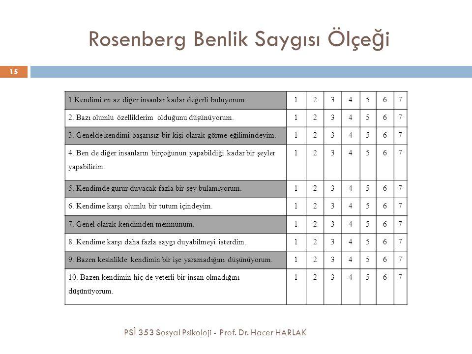 Rosenberg Benlik Saygısı Ölçe ğ i PS İ 353 Sosyal Psikoloji - Prof. Dr. Hacer HARLAK 15 1.Kendimi en az diğer insanlar kadar değerli buluyorum.1234567