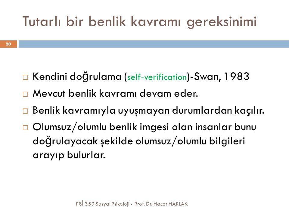 Tutarlı bir benlik kavramı gereksinimi  Kendini do ğ rulama ( self-verification )-Swan, 1983  Mevcut benlik kavramı devam eder.  Benlik kavramıyla