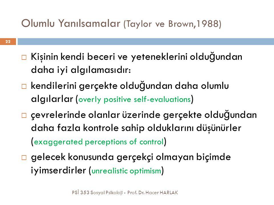 Olumlu Yanılsamalar (Taylor ve Brown,1988)  Kişinin kendi beceri ve yeteneklerini oldu ğ undan daha iyi algılamasıdır:  kendilerini gerçekte oldu ğ undan daha olumlu algılarlar ( overly positive self-evaluations )  çevrelerinde olanlar üzerinde gerçekte oldu ğ undan daha fazla kontrole sahip olduklarını düşünürler ( exaggerated perceptions of control )  gelecek konusunda gerçekçi olmayan biçimde iyimserdirler ( unrealistic optimism ) PS İ 353 Sosyal Psikoloji - Prof.