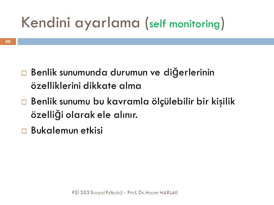 Kendini ayarlama ( self monitoring ) PS İ 353 Sosyal Psikoloji - Prof. Dr. Hacer HARLAK 30  Benlik sunumunda durumun ve di ğ erlerinin özelliklerini