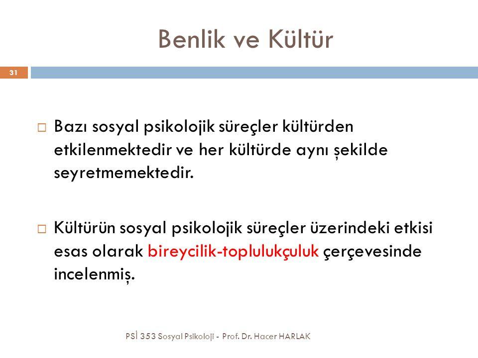Benlik ve Kültür PS İ 353 Sosyal Psikoloji - Prof. Dr. Hacer HARLAK 31  Bazı sosyal psikolojik süreçler kültürden etkilenmektedir ve her kültürde ayn