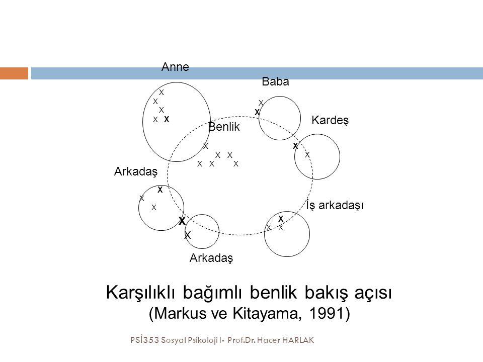 Kardeş İş arkadaşı Anne X XXXXXX XXXXXX X Baba X XXXXXXX Arkadaş XXXXXX XXXX Benlik Karşılıklı bağımlı benlik bakış açısı (Markus ve Kitayama, 1991) PS İ 353 Sosyal Psikoloji I- Prof.Dr.