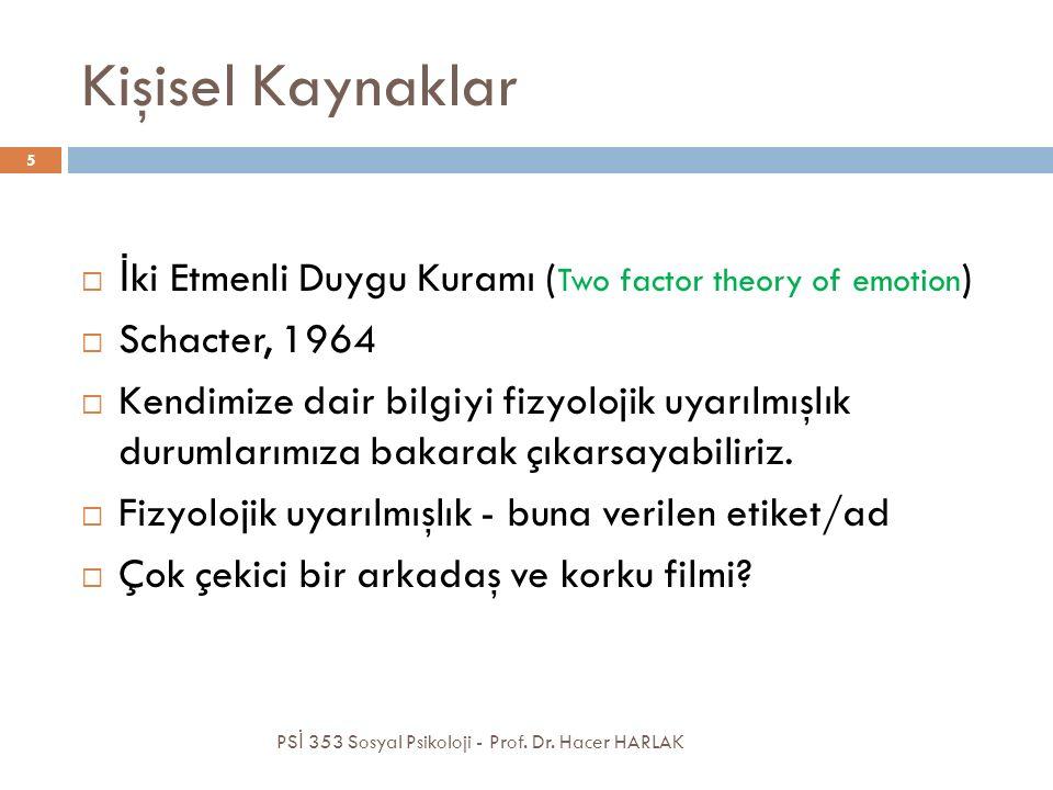 Kişisel Kaynaklar  İ ki Etmenli Duygu Kuramı ( Two factor theory of emotion )  Schacter, 1964  Kendimize dair bilgiyi fizyolojik uyarılmışlık durumlarımıza bakarak çıkarsayabiliriz.