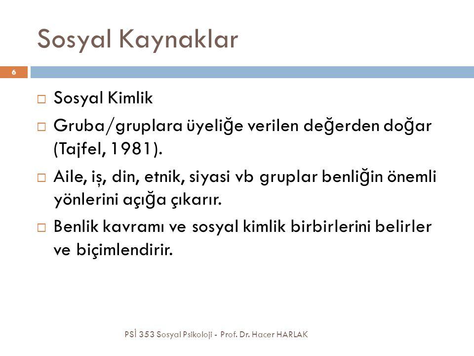 Sosyal Kaynaklar PS İ 353 Sosyal Psikoloji - Prof.