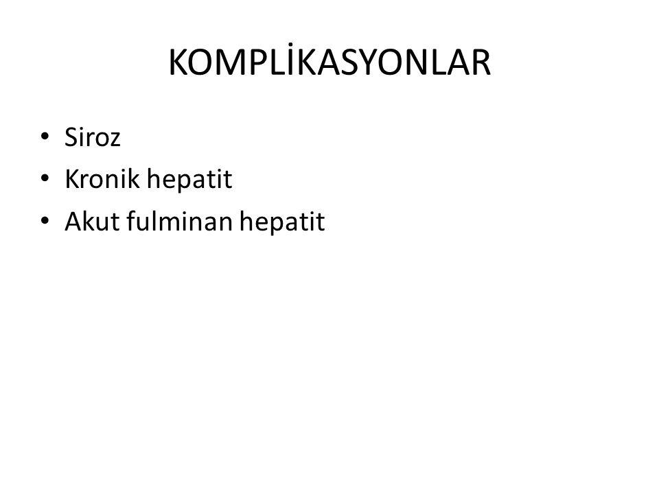 KOMPLİKASYONLAR Siroz Kronik hepatit Akut fulminan hepatit