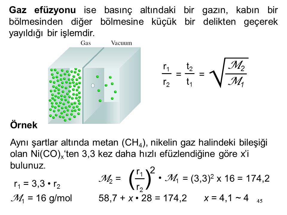45 Gaz efüzyonu ise basınç altındaki bir gazın, kabın bir bölmesinden diğer bölmesine küçük bir delikten geçerek yayıldığı bir işlemdir. = r1r1 r2r2 t