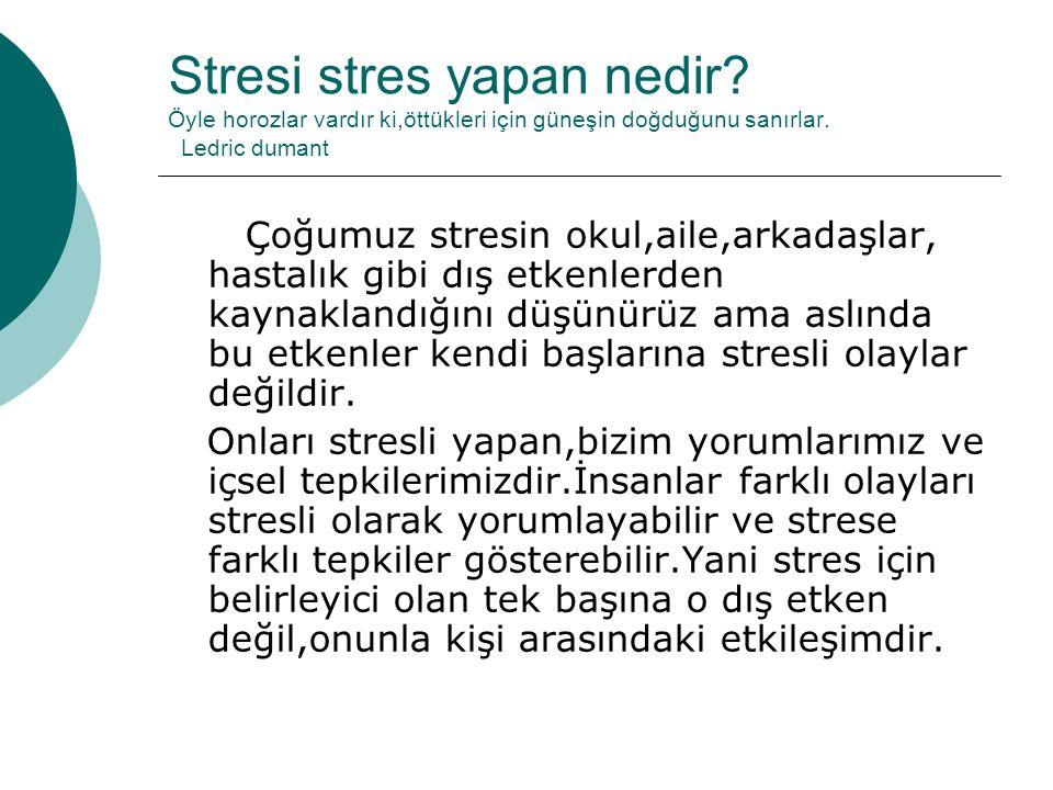 Stresi stres yapan nedir. Öyle horozlar vardır ki,öttükleri için güneşin doğduğunu sanırlar.