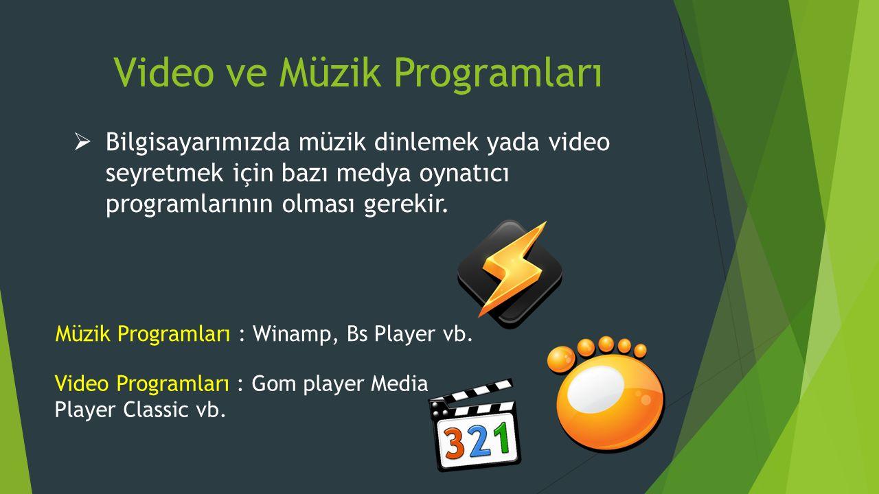 Video ve Müzik Programları  Bilgisayarımızda müzik dinlemek yada video seyretmek için bazı medya oynatıcı programlarının olması gerekir.